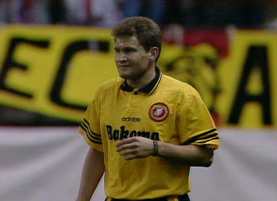 Ryszard Czerwiec podczas meczu Atlético Madryt - Widzew Łódź 1:0 (04.12.1996).