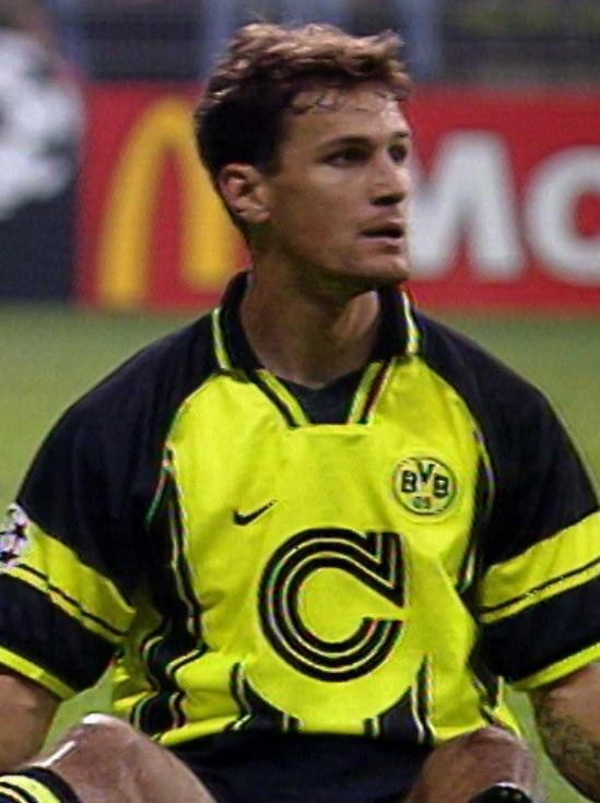 Heiko Herrlich podczas meczu Borussia Dortmund - Widzew Łódź 2:1 (11.09.1996) .