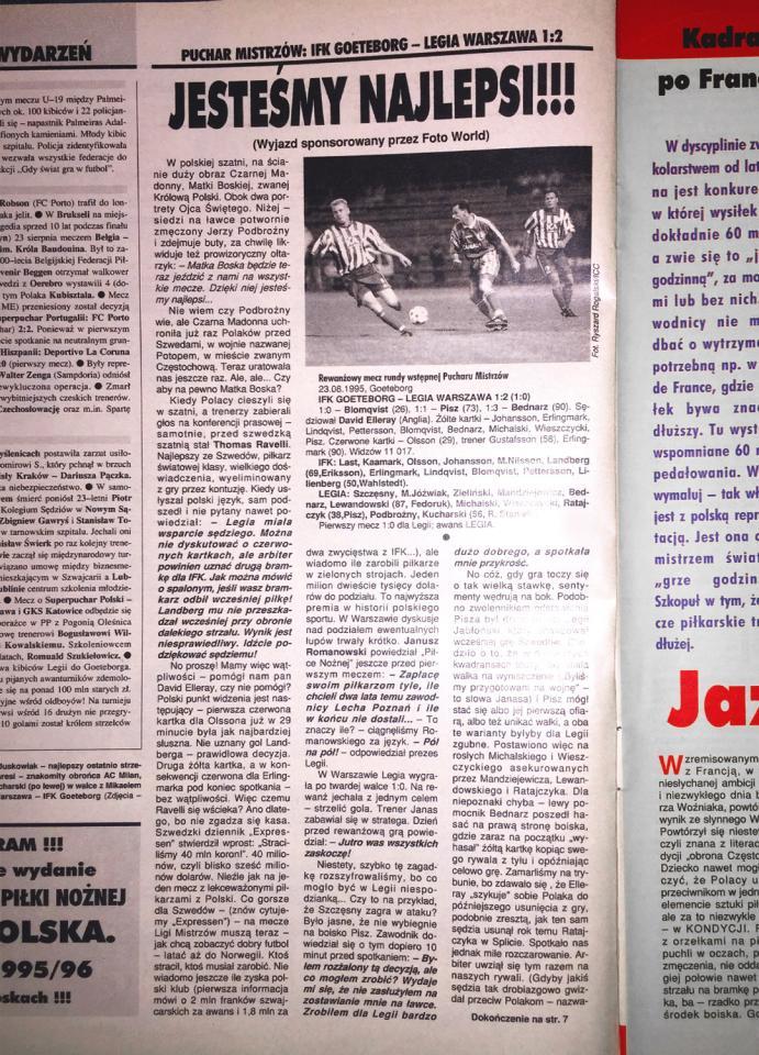 """Piłka nożna"" po meczu IFK Göteborg - Legia Warszawa 1:2 (23.08.1995)"