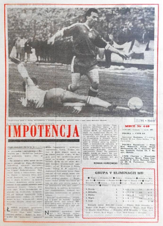 Piłka nożna po meczu polska - cypr (12.04.1987)