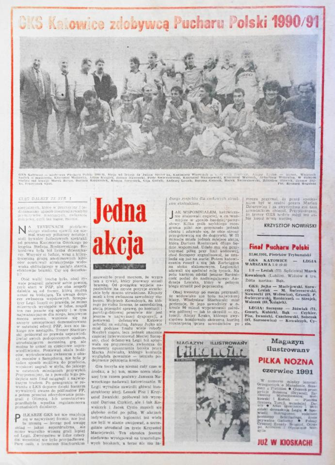 Piłka nożna po finale Pucharu Polski Legia Warszawa - GKS Katowice (23.06.1991)