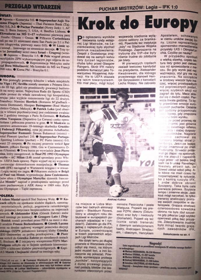 """Piłka nożna"" po meczu Legia Warszawa - IFK Göteborg 1:0 (09.08.1995)"