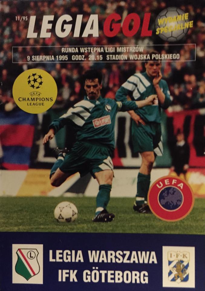 Legia Warszawa - IFK Göteborg 1:0 (09.08.1995) Program meczowy