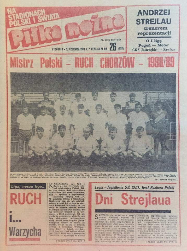 Okładka piłki nożnej po meczu Legia - Jagiellonia (24.06.89)