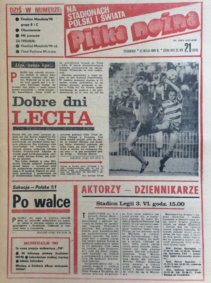 Okładka piłki nożnej po meczu Szkocja - Polska 1:1 (19.05.1990)