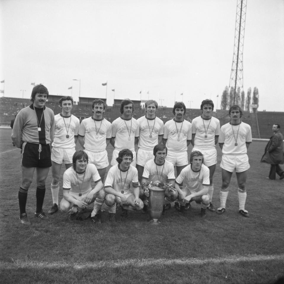 Piłkarze Zagłębia Sosnowiec z Pucharem Polski za sezon 1977/78.