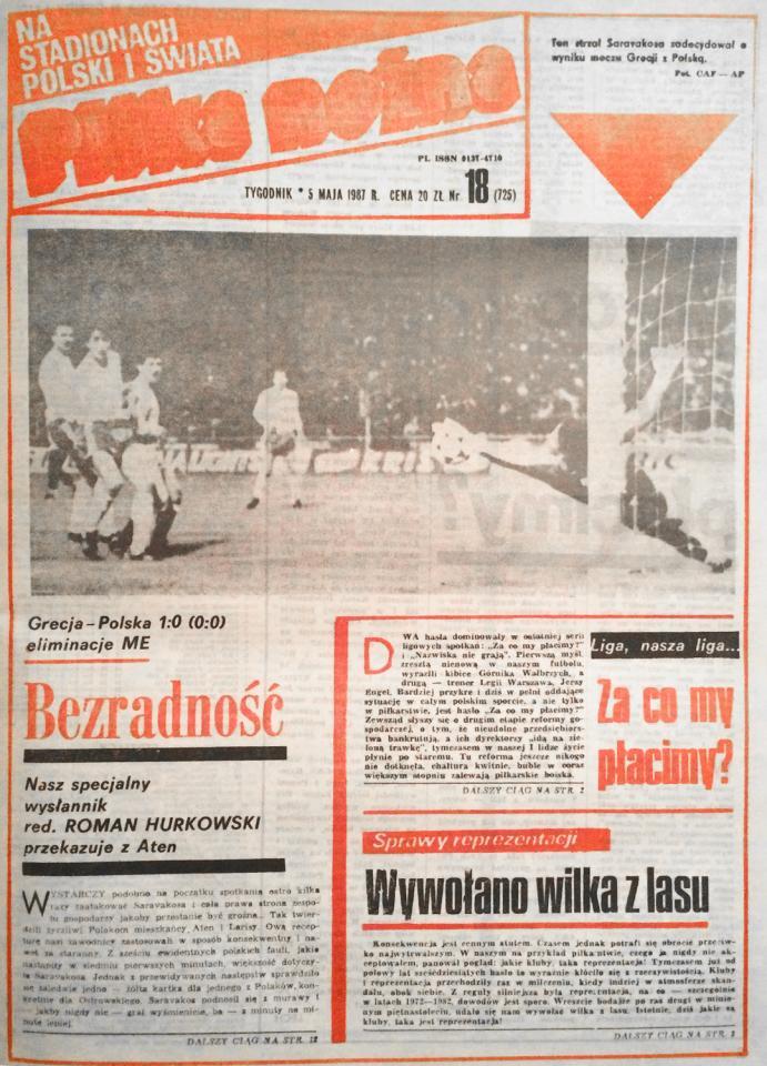 Piłka nożna po meczu Grecja - Polska (29.04.1987)