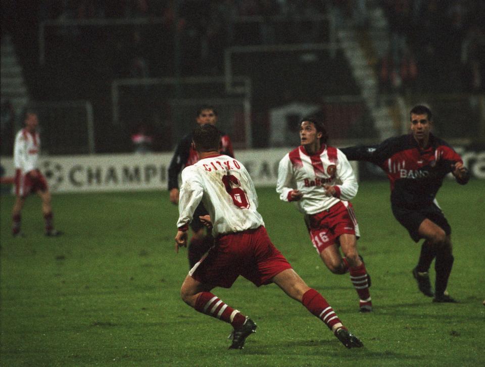 Marek Citko i Marcin Zając podczas meczu Widzew Łódź - Atlético Madryt 1:4 (25.09.1996).