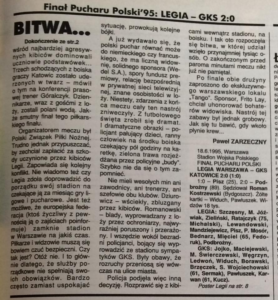 Piłka nożna po meczu Legia - Katowice 2:0 (18.06.1995)