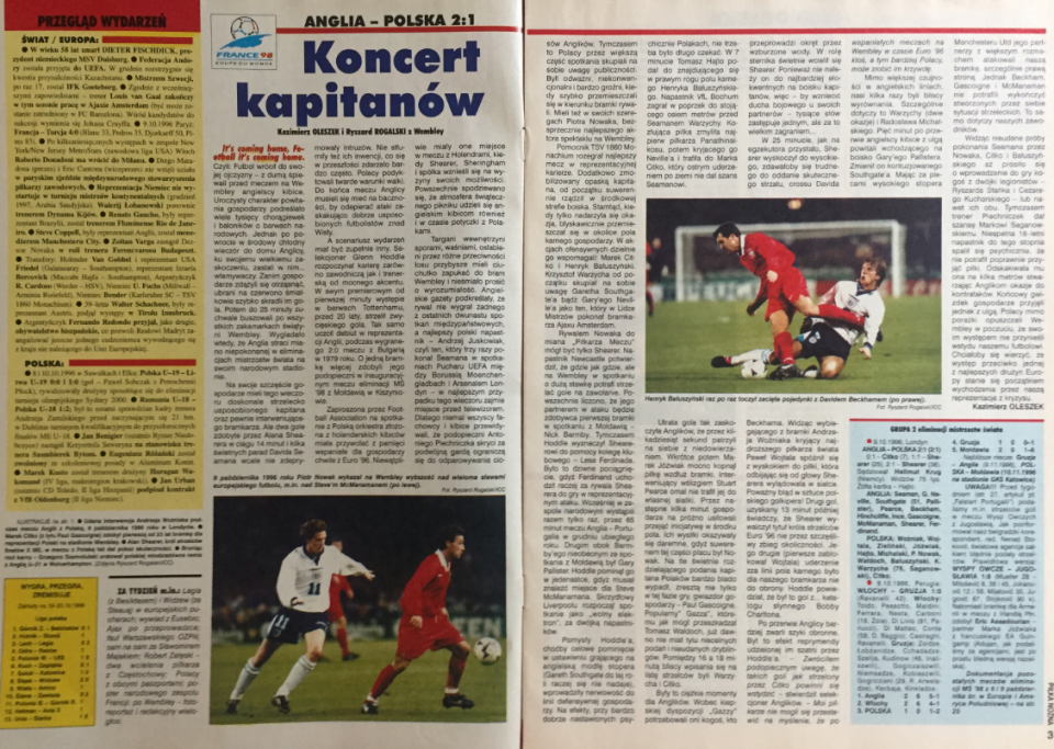 piłka nożńa po meczu anglia - polska (09.10.1996)