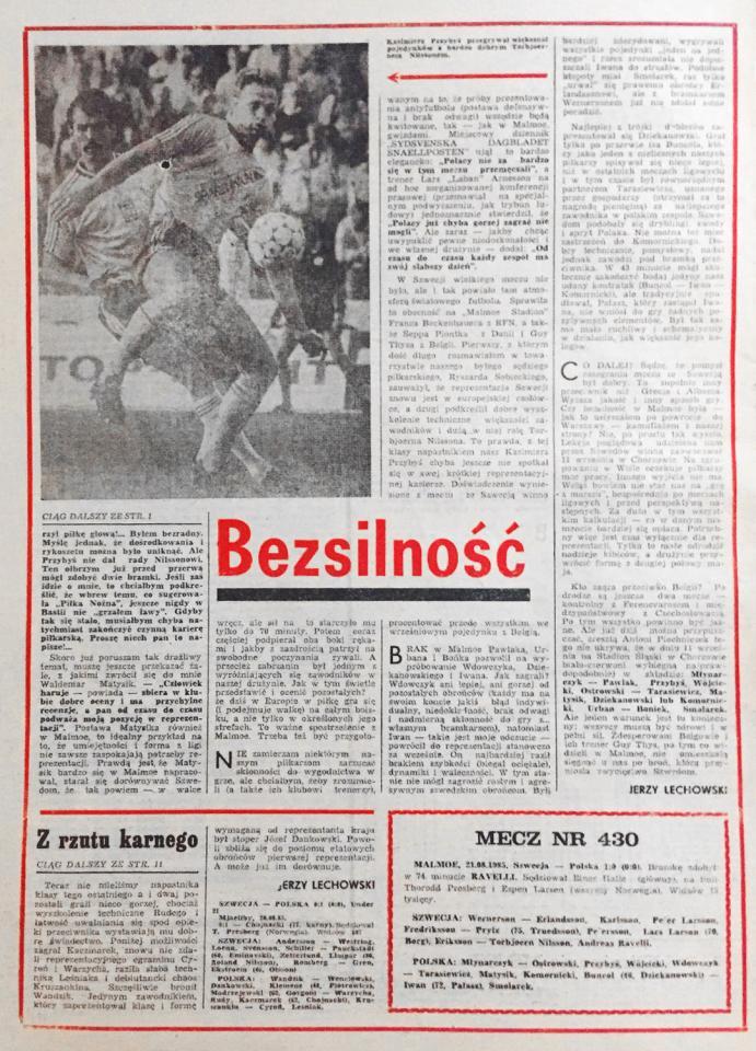 Piłka nożna po meczu Szwecja - Polska (21.08.1985)