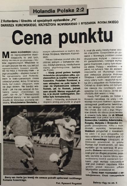 Piłka nożna po meczu holandia - polska (14.10.1992)