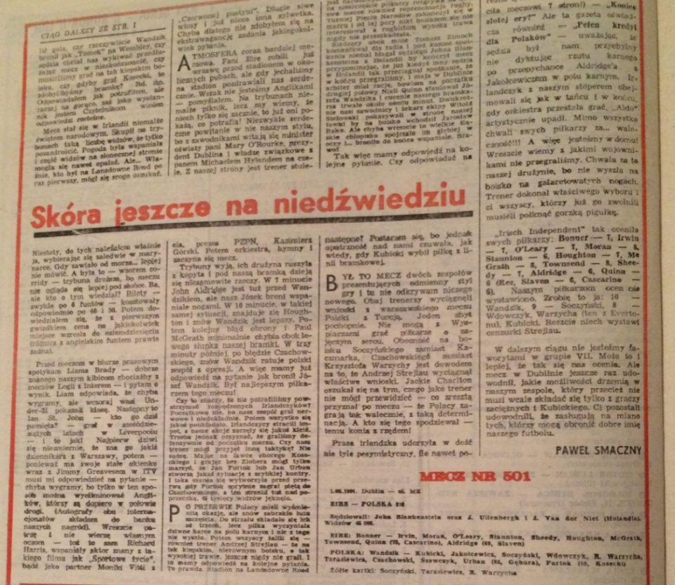Piłka nożna po meczu Irlandia - Polska (01.05.1991)
