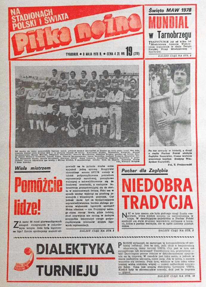 """Okładka """"Piłki Nożnej"""" po finale PP Zagłębie S. - Piast (1978)"""