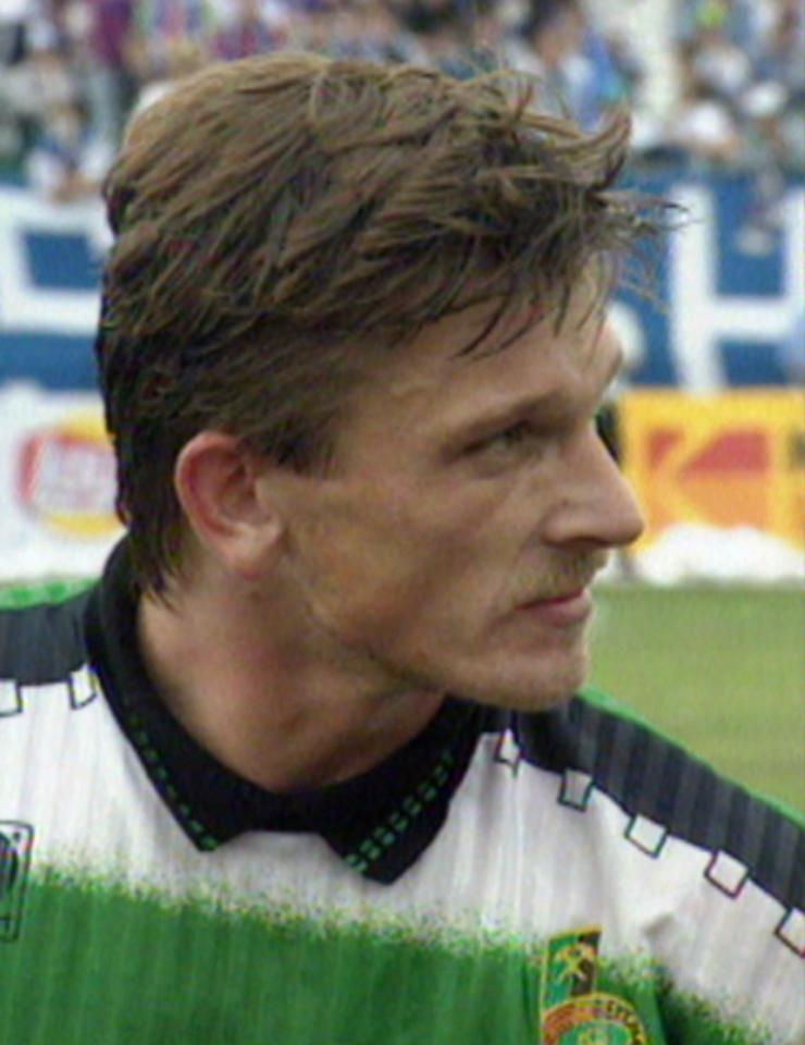 Sylwester Szkudlarek podczas meczu Ruch Chorzów - GKS Bełchatów 1:0 (16.06.1996)