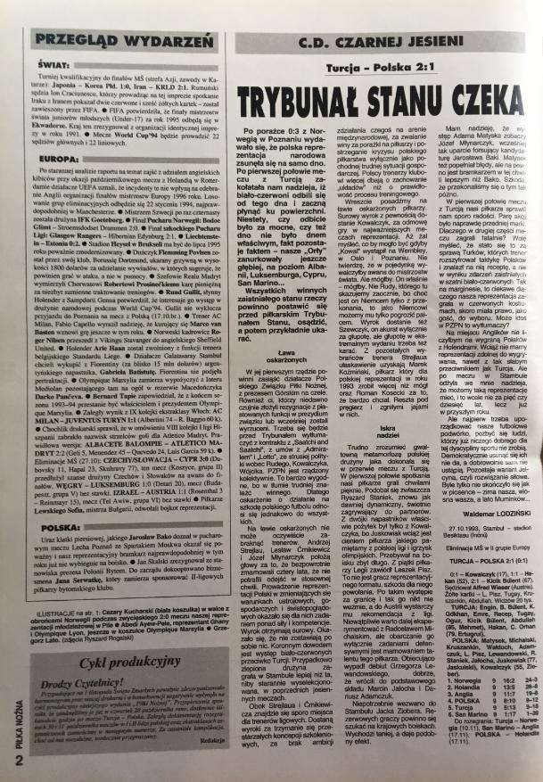 Piłka nożńa po meczu turcja - polska (27.10.1993)