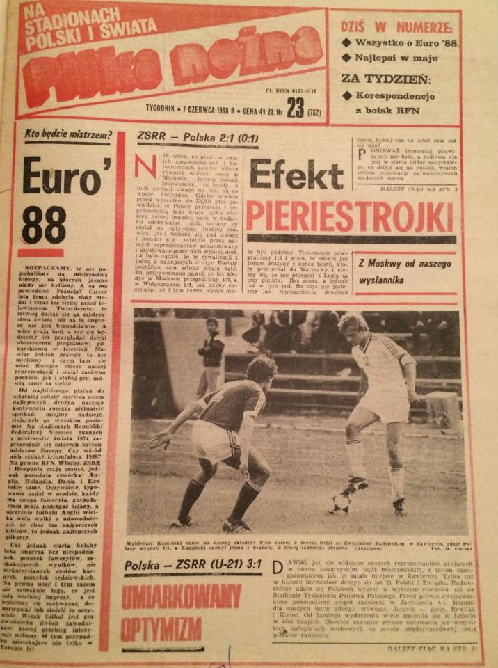 Okładka Piłki Nożnej po meczu ZSRR - Polska 2:1 (01.06.1988)
