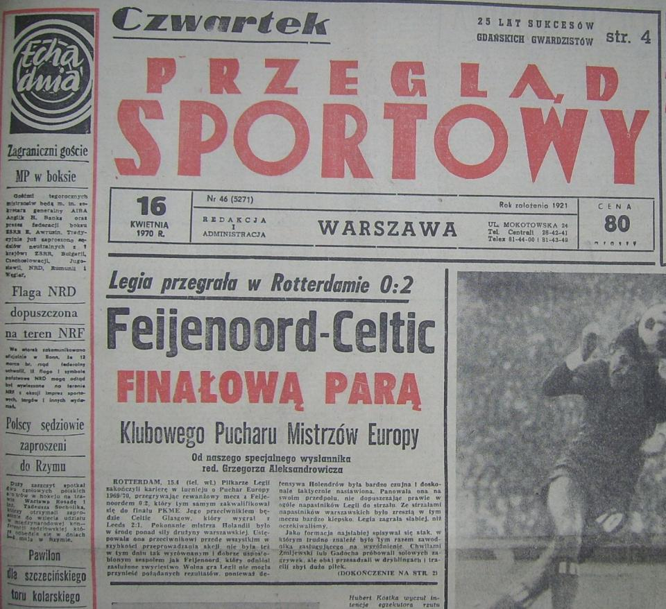 Okładka Przeglądu Sportowego po meczu Feyenoord - Legia (15.04.1970)