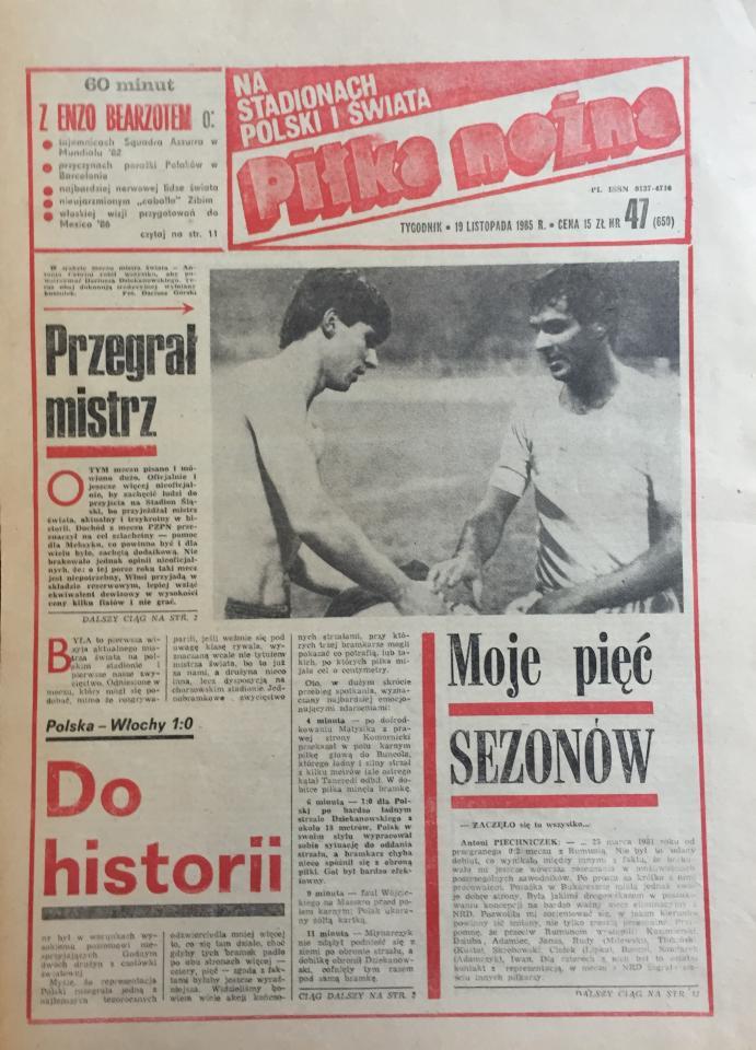 Piłka nożna po meczu Polska - Włochy 1:0 (16.11.1985)