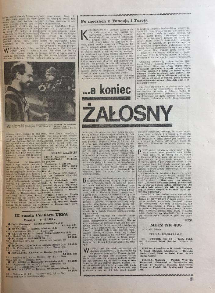 Piłka nożna po meczu Polska - Turcja 1:1 (11.12.1985)