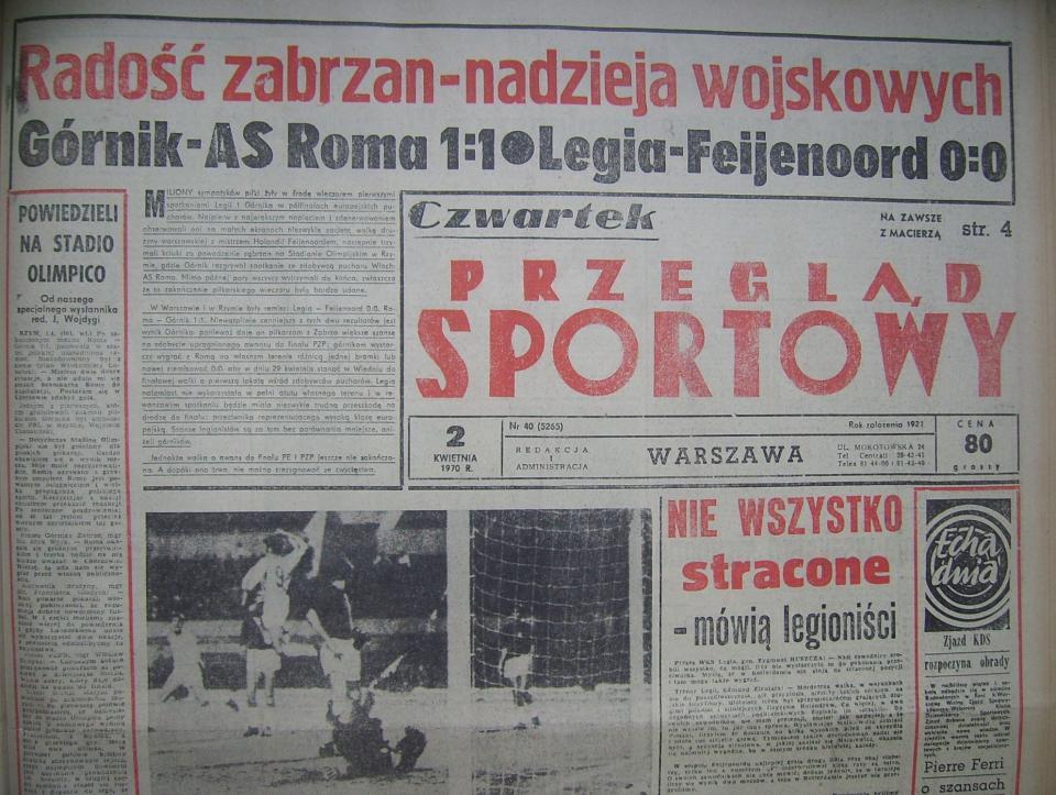Okładka Przeglądu Sportowego po meczu Legia - Feyenoord (01.04.1970)