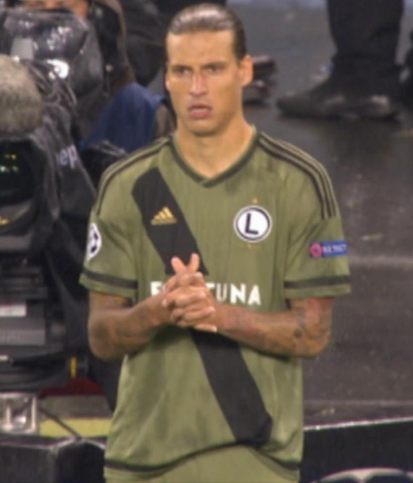 Aleksandar Prijović podczas meczu Dundalk FC - Legia Warszawa 0:2 (17.08.2016).