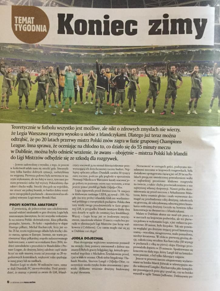 Dundalk FC - Legia Warszawa 0:2 (17.08.2016) Piłka Nożna