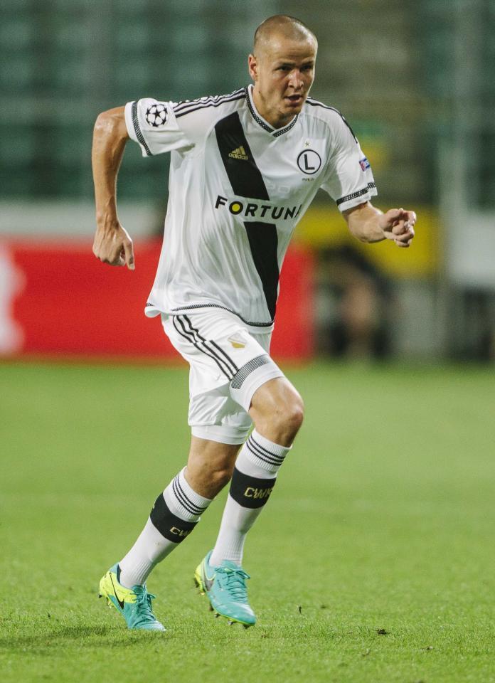 Adam Hloušek podczas meczu Legia Warszawa - Dundalk FC 1:1 (23.08.2016).