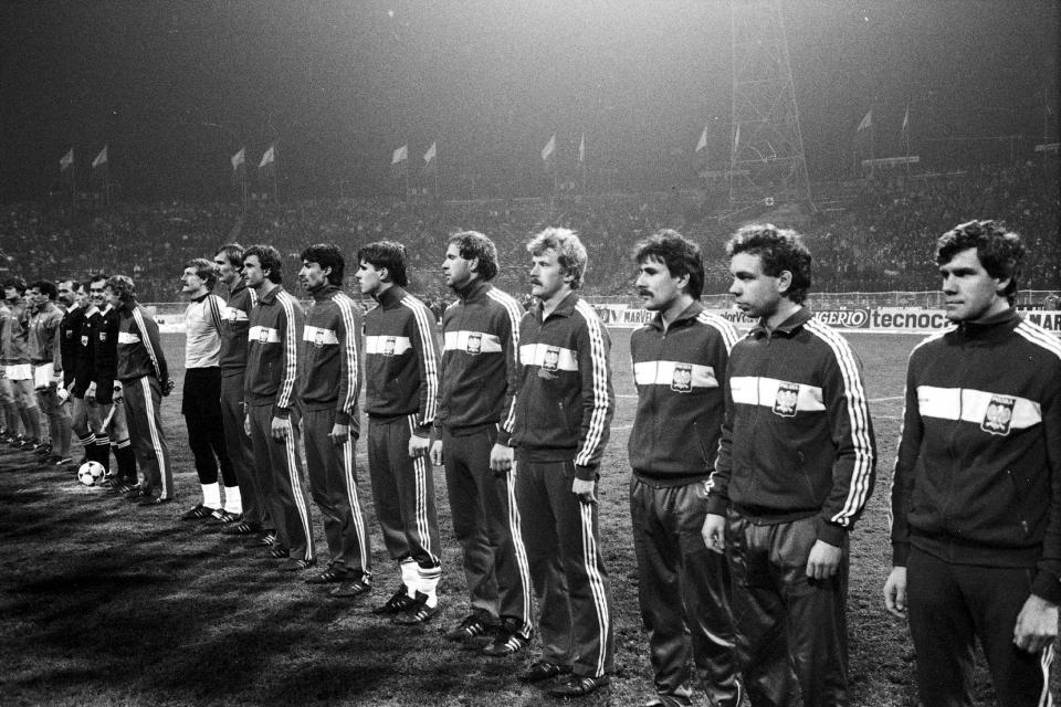 Reprezentacja Polski przed meczem z Włochami w Chorzowie.