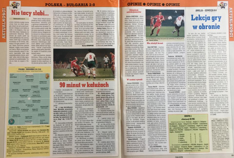 piłka nożna po meczu polska - bułgaria (04.06.1999)