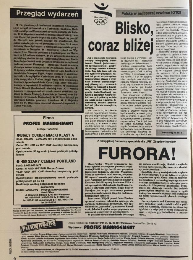 piłka nożna po meczu z katarem (01.08.1992)
