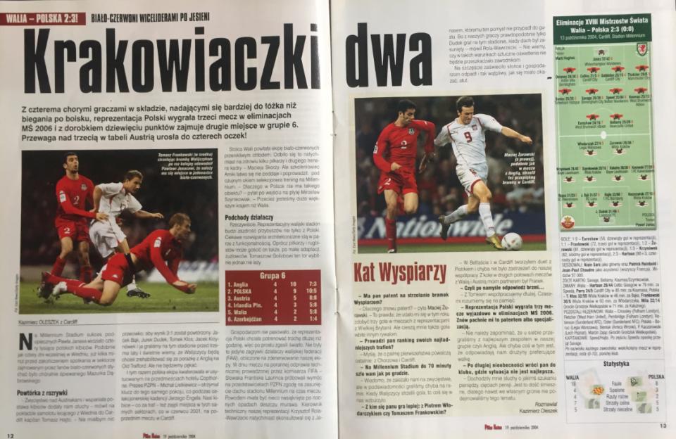 piłka nożna po meczu walia - polska (13.10.2004)