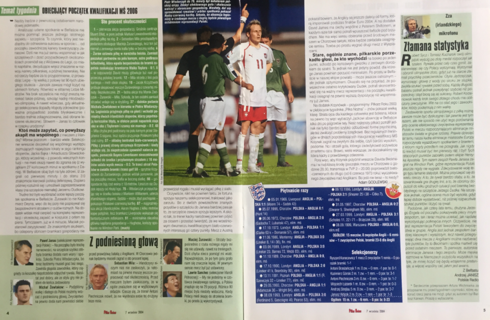 piłka nożna po meczu irlandia płn. - polska (04.09.2004)