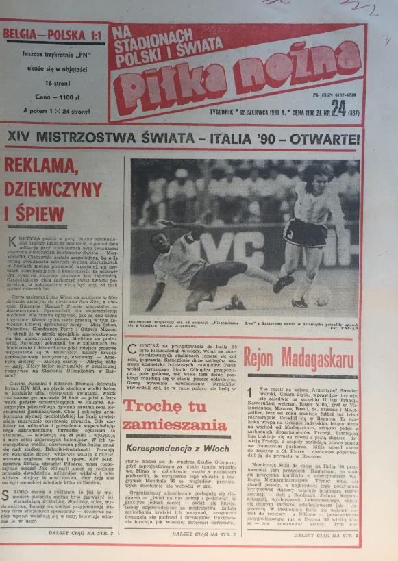 Piłka nożna po meczu belgia - polska (06.06.1990)