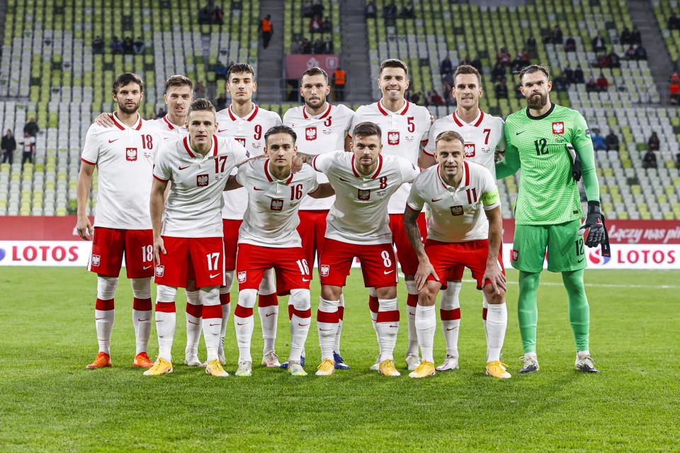 Zdjęcie grupowe reprezentacji Polski przed meczem towarzyskim z Finlandią w Gdańsku.
