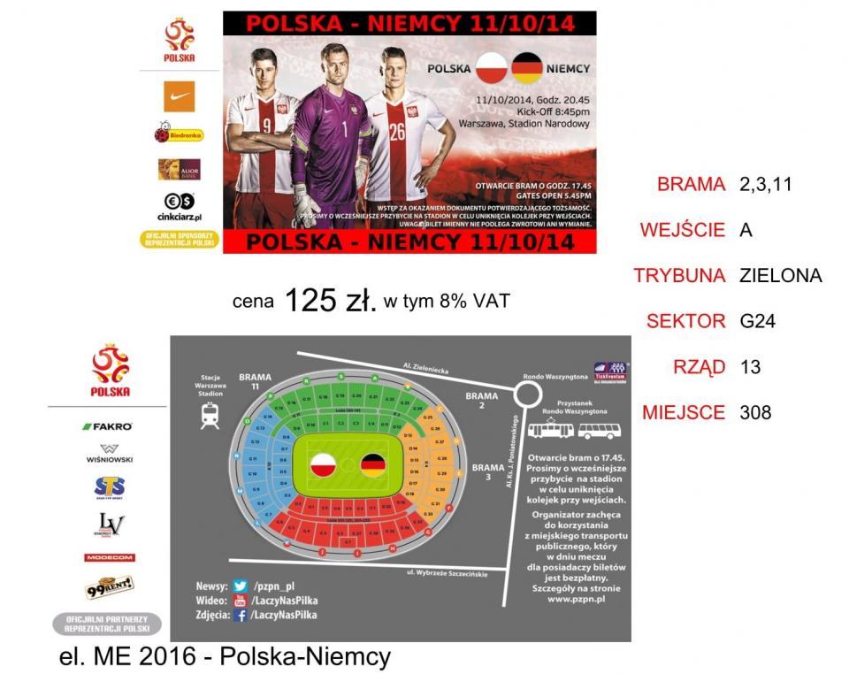 Bilet z meczu Polska - Niemcy 2:0 (11.10.2014).