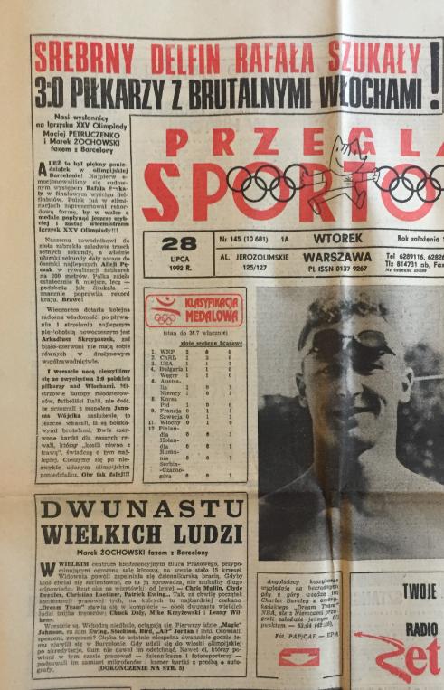 przegląd sportowy po meczu polska - włochy (27.07.1992)