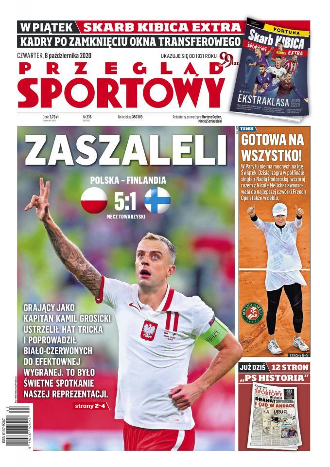 Okładka Przeglądu Sportowego po meczu Polska - Finlandia 5:1.