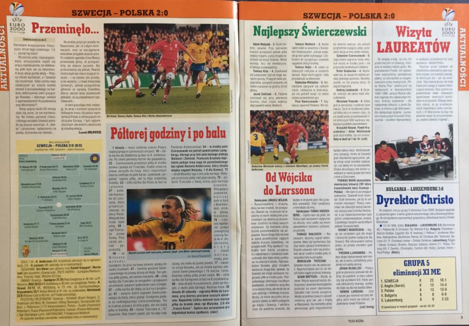 Piłka nożna po meczu szwecja - polska (09.10.1999)