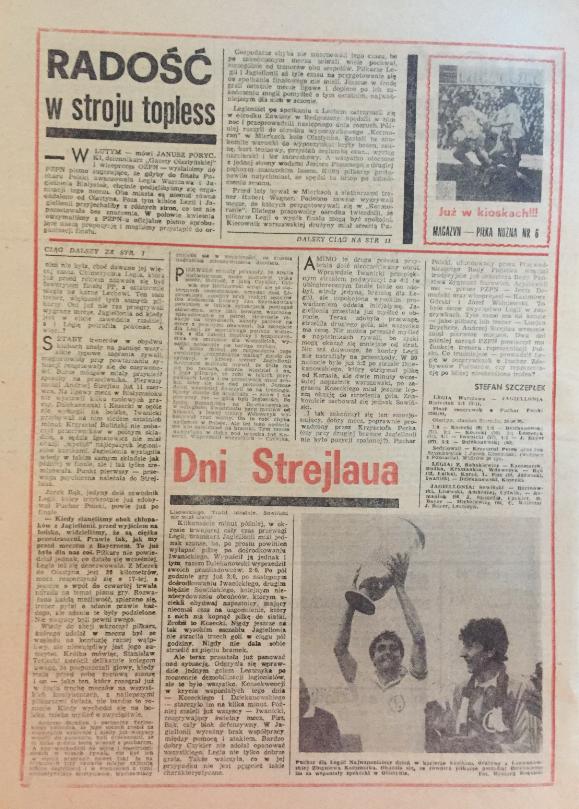 piłka nożna po meczu legia - jagiellonia (24.06.1989)