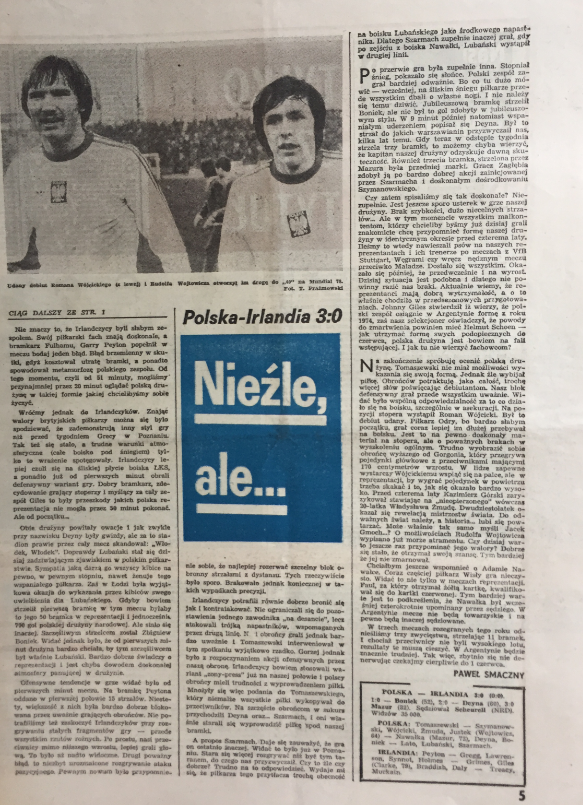 piłka nożna po meczu polska - irlandia (12.04.1978)
