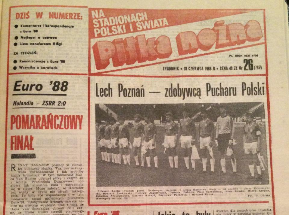 Piłki Nożnej po meczu PP Lech Poznań - Legia Warszawa 1:1, k. 3:2 (23.06.1988).