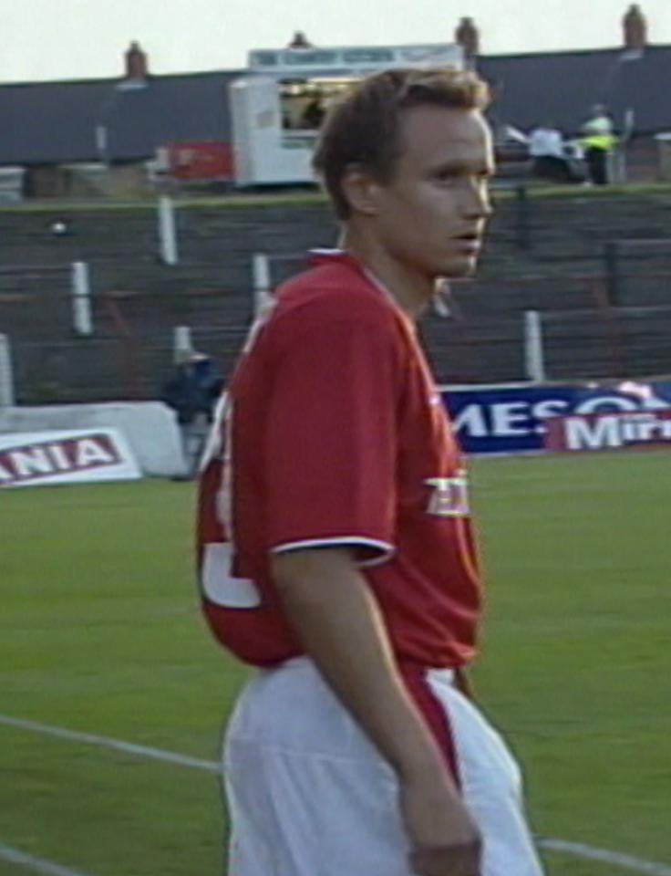 Daniel Dubicki podczas meczu Glentoran FC - Wisła Kraków 0:2 (15.08.2002).