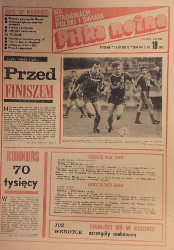 piłka nożna po meczu polska - kolumbia (04.05.1990)