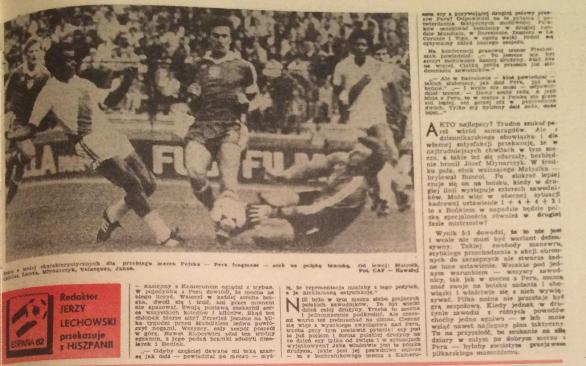 piłka nożna po meczu polska - peru (22.06.1982)