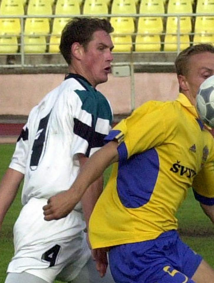Ivica Križanac podczas meczu Atlantas Kłajpeda - Groclin Dyskobolia Grodzisk Wlkp. 1:4 (27.08.2003)