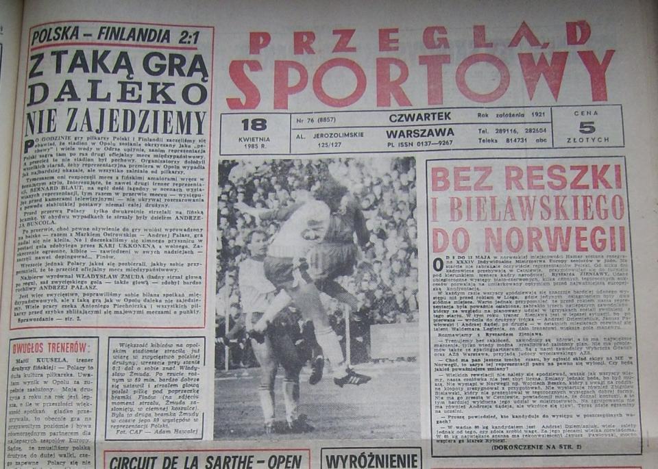 przegląd sportowy o meczu polska - finlandia (17.04.1985)
