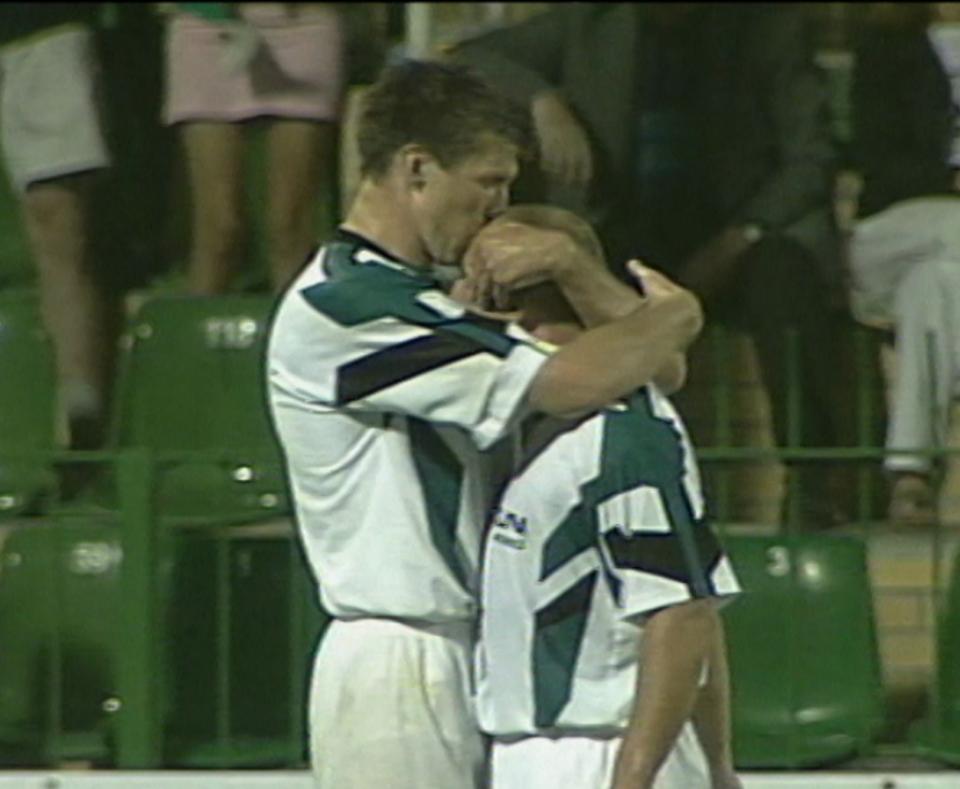 Piotr Rocki i Grzegorz Rasiak podczas meczu Groclin Dyskobolia Grodzisk Wlkp. - Atlantas Kłajpeda 2:0 (14.08.2003).