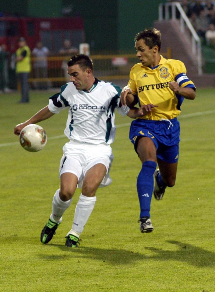 Jan Woś podczas meczu Groclin Dyskobolia Grodzisk Wlkp. - Atlantas Kłajpeda 2:0 (14.08.2003).