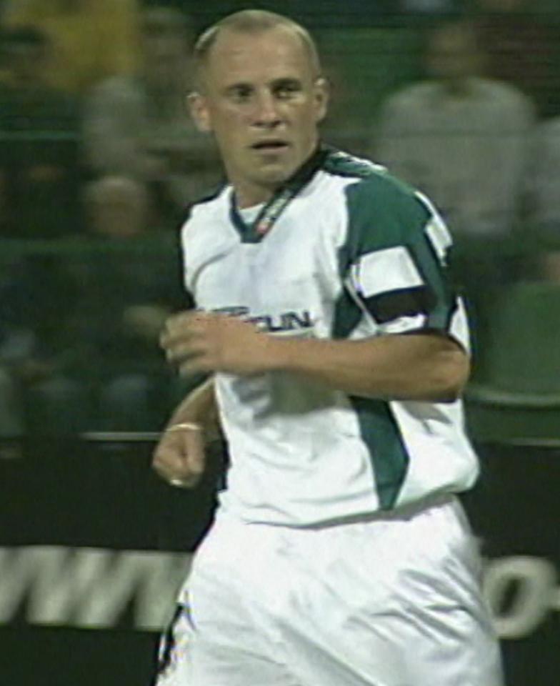 Piotr Rocki podczas meczu Groclin Dyskobolia Grodzisk Wlkp. - Atlantas Kłajpeda 2:0 (14.08.2003).